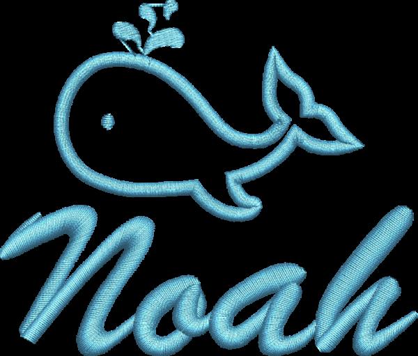 Wal blau mit Name