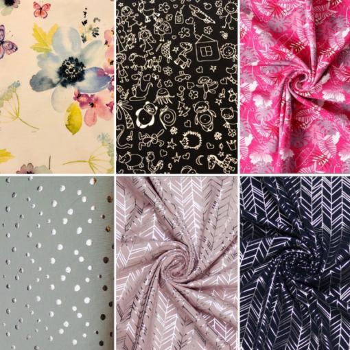 Blumen/Tiere schwarz/Blätter pink/Altgrün silber/Altrosa Silber/Schwarz silber